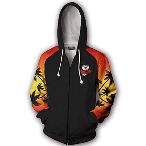 Kai Herren Cobra Für Kostüm - Henxizucun Karate Kid Cobra Kai Hoodie Retro Film Klassiker Vintage Kapuzenoberteil Erwachsene Zip Hoodie Sweatshirts Jacke Lose,Black,L