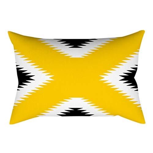 Xmiral Kissenhüllen Gelb Geometrische Patchwork Quadratischer Zierkissenbezüge 30cmx50cm mit Versteckter Reißverschluss(P)