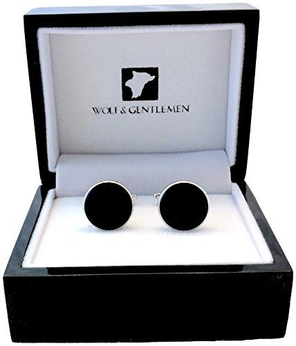Wolf & Gentlemen® Herren Manschettenknöpfe + 25 Jahre Garantie + Holz-Schatulle in Pianolack + Spende runde schwarze Onyx (Classic Black)