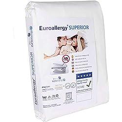 Euroallergy Superior | Funda Antiacaros Certificada | Protector con Cremallera para Colchón De Matrimonio | Color Blanco | Muchas Medidas (150x200 x 30 cm.)