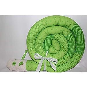 Bettschnecke 300 cm JUNIA-SHOP.de RAINBOW grün Nestchen Bettrolle Bettschlange Baby Geburt Taufe Puckschnecke Bettwurm Bettumrandung kunterbunt 3 m