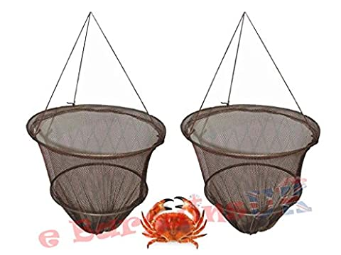 Set of 2 Crab Fish Crayfish Lobster Drop Net with Bait Clip & Rope - Safe Crabbing