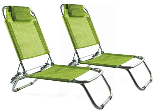 Soriani set 2 sedie mare spiaggine pieghevoli in alluminio grecia verde