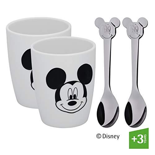 WMF Disney Mickey Mouse Tassen Set S, 2 Tassen mit Löffel, Porzellan, Cromargan Edelstahl poliert, spülmaschinengeeignet
