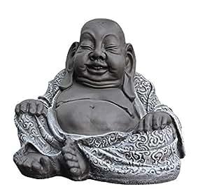 tiefes kunsthandwerk buddha figur aus stein schiefergrau deko statue frostsicher und. Black Bedroom Furniture Sets. Home Design Ideas
