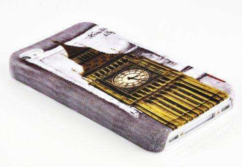 Cadorabo - Hard Cover für >            Apple iPhone 4 / 4S            < - Case Cover Schutz-Hülle Bumper im Design: LILA VEILCHEN LONDON - BIG BEN