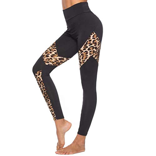 Damen Leggings Hose Leopard Stitching SportleggingsYogahose Schwarz Skinny Strumpfhose Patchwork Stretch Jogginghose Laufhose Sporthose Workout Pants ()