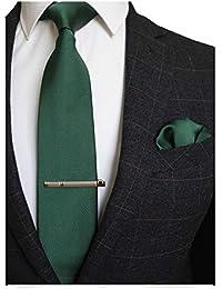 775961fc1b100 RBOCOTT Solid Color Tie and Pocket Square, Tie Clip Set for Men