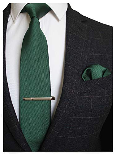 RBOCOTT Green Silk Tie and Pocke...