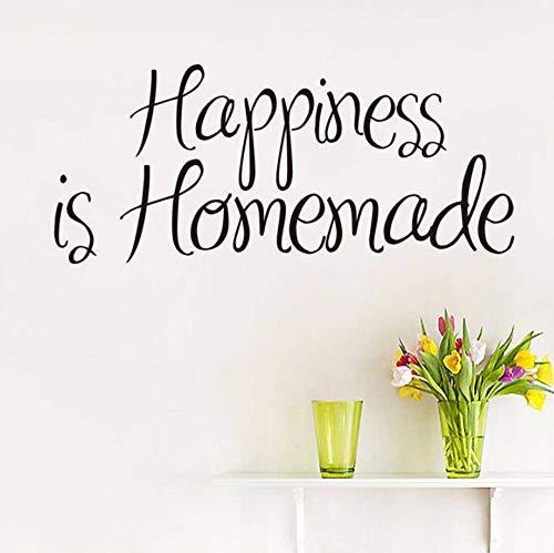 Dalxsh Glück ist hausgemachte Wandaufkleber Zitat modernes Design wasserdichte Kunst Vinyl Aufkleber Wandkunst für Küche Wohnzimmer Home Decor58x25 ()