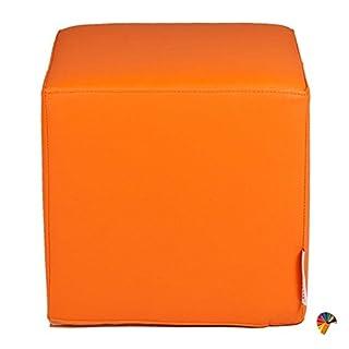 Arketicom BABY DADO Faux Leather Pouf Cube FOOTSTOOL Children Seat Removable Cover Orange 25x25x25 cm