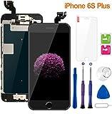 Display per iPhone 6S Plus Schermo Touch Screen Nero LCD Vetro 5,5' Digitizer Parti di Ricambio (con Home Pulsante, Fotocamera, Sensore Flex) Kit Smontaggio trasformazione Completo di Ricambio