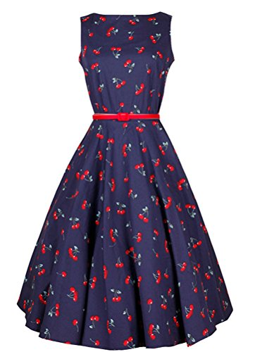 MatchLife Femme Vintage Pin-up robe de Soirée Cocktail Bleu Marin