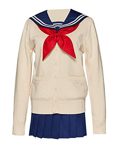 I TRUE ME Himiko Toga Cosplay Kostüm japanische High School Mädchen Uniform Pullover Seemann Kleid Lolita Oufit für Frauen (Strickmantel + Hemd + Rock + Krawatte + Strümpfe.),M -