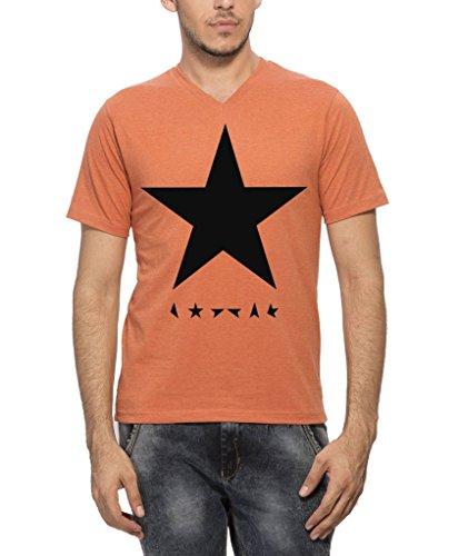 Clifton Men's Star Printed Melange T-Shirt Half Sleeve V-Neck -Rust -Black Star-3XL