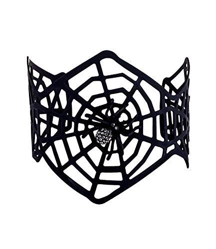 SIX Halloween Schmuck, Breiter Spinnenetz Armreif, mit Glitzer Spinne, Gruselige Kostüme (748-704)
