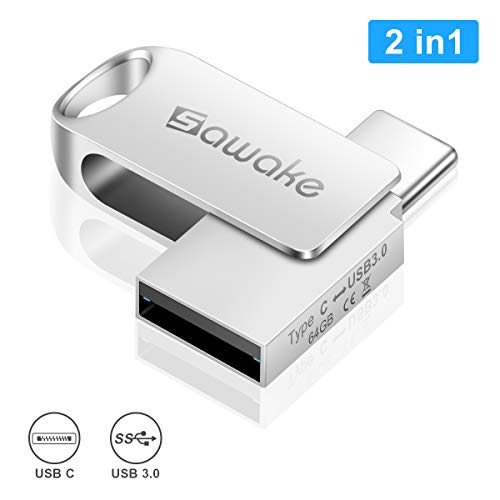 Usb flash drive da 64 gb usb-a 3.0 e usb type-c, sawake flash memory stick, metallo impermeabile memory stick con portachiavi, regalo per pc/laptop/notebook/type-c cellulare/ufficio