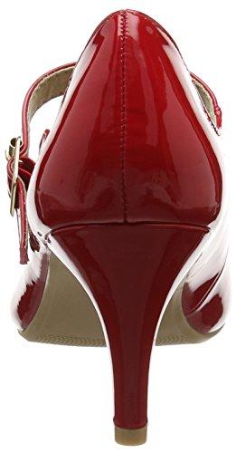 Unbekannt Damen Patent Mary Jane Halbschuhe Rot