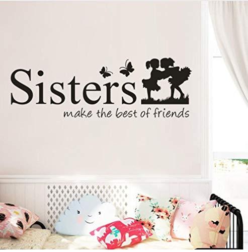 Schwestern wecken die besten freunde des hauses brief muster wandaufkleber pvc abnehmbare wohnkultur diy wand art60 * 20 cm (Besten Ballons Freund)