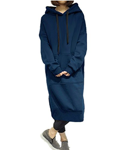 StyleDome Robe Longue Large Manches Longues Casual Hoodie Hauts Sweatshirt Pullover Tops Haut (EU 36, Bleu)