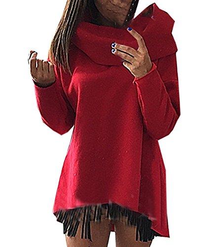 Eineukleid Donna Maniche lunghe Casual Loose Lunghi Sciolto Hoodie Sportswear Asimmetrico Felpa con cappuccio Jumper Pullover Top Sweatshirt Rosso