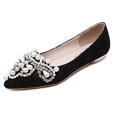 BalaMasa Girls Lace Bead Glass Diamond Black Imitated Leather Pumps-Shoes - 5.5 UK