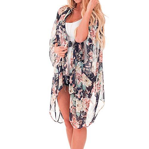 feiXIANG Kimono Cardigan Print Chiffon Beachwear Top Bikini Cover up Strand Beachwear Leichte Jacke Oberteil(Schwarz,XL) Print Wrap Jacke