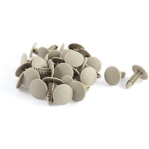 30Piezas Remaches Tornillos de fijación de plástico color gris de Reborde Guardabarros Parachoques Clips for 6mm x 6.7mm Agujero