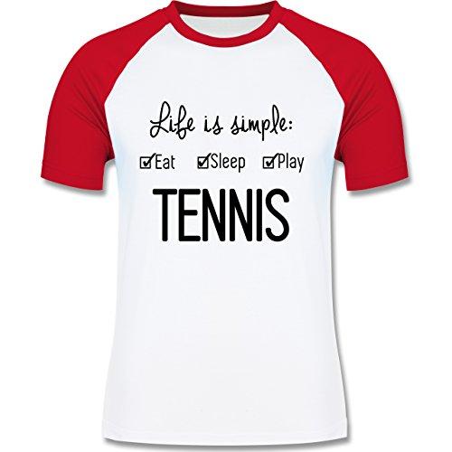 Tennis - Life is simple Tennis - zweifarbiges Baseballshirt für Männer Weiß/Rot