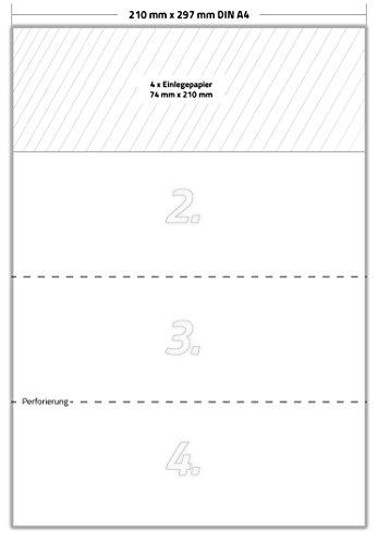 20 x Karteo® Einlegepapier | Kartonanhänger VDA 4902 | Einleger 160g/m² | weiß hochwertiges perforiertes Papier 210 x 74 mm auf 5 Stk. DIN A4 Bögen zum Selbstbedrucken