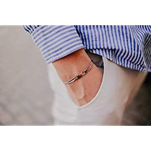 Dezentes Armband für Herren – edles Wickelarmband für Männer Minimalistisch – stufenlos verstellbar mit Karabiner-Haken Gold (Grau)