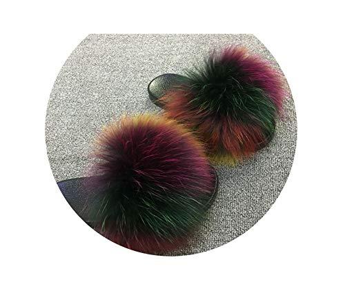 Summer Faux Fox Fur Slides Cute Plush Slippers Hair Luxury Fashion Beach Size 36 45,See Pic,7.5 Stiletto Heel Ankle Tie