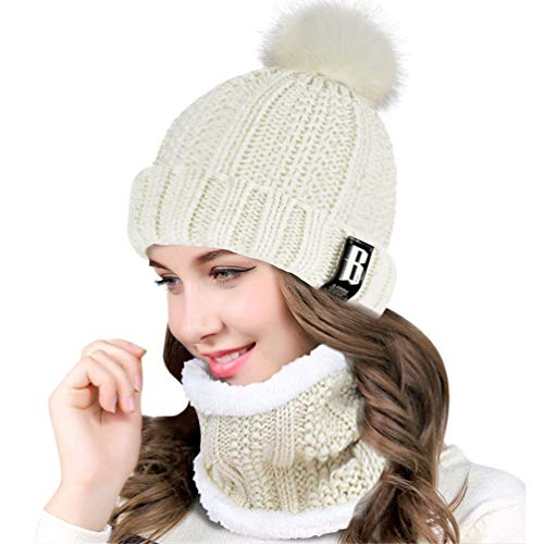 QS_Go Conjunto de Sombrero de Punto de Mujer Sombrero de Punto de Mujer Sombreros de Moda Gorras para Mujer Sombreros de Invierno Calentar Sombreros Gorras Gorro de Invierno Tipo Otoño (Blanco)