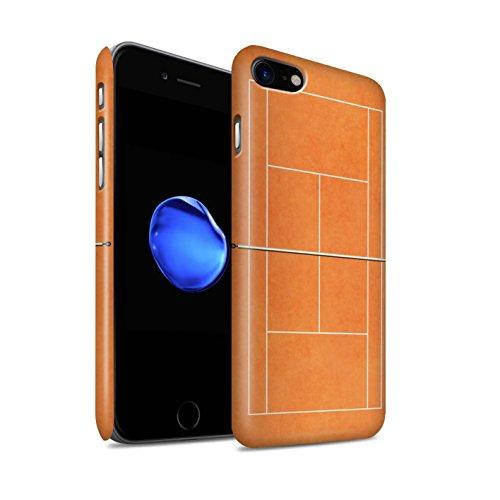 STUFF4 Matte Snap-On Hülle / Case für Apple iPhone 7 / Grau Hartplatz Muster / Tennis Plätze Kollektion Orange Sandplatz