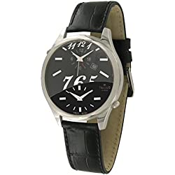 Tellus - Trium - Luxury Women / Men watch with black & black mother of pearl dial, black strap in genuine alligator, Swiss Made - T1061L-005A