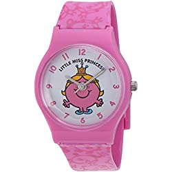 Mr Men and Little Miss Girl's Quartz Watch with White Dial Analogue Display and Pink PU Strap ALM0001