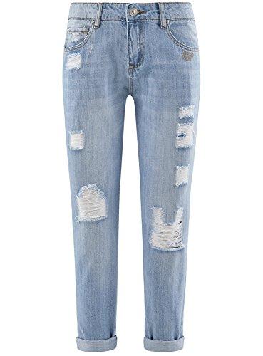 oodji Ultra Donna Jeans Boyfriend Strappati Blu (7000W)