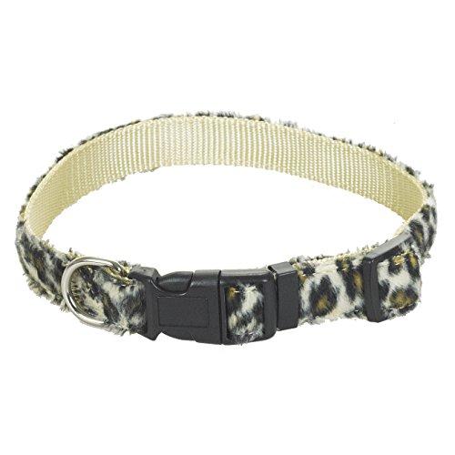 CHAPUIS SELLERIE SLA379 Hundehalsband - Velours-Gurt Leoparden-Look - Breite 20 mm - Länge 45 cm - Größe M (Hundehalsband Leopard)