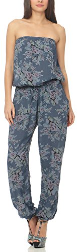 malito more than fashion Jumpsuit Einteiler Overall Hosenanzug Geblümt 1495 Damen One Size-Tuta unica Donna Blu jeans