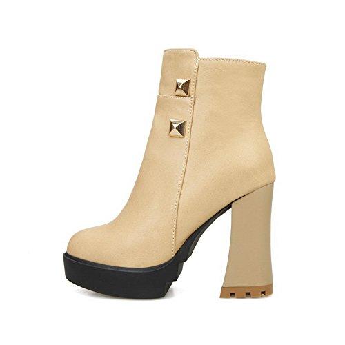 AgooLar Damen Blend-Materialien Knöchel Hohe Rein Reißverschluss Hoher Absatz Stiefel, Golden, 33