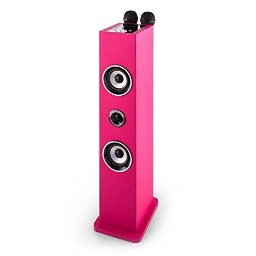 auna Karaboom • Kinder Karaoke Anlage • Karaoke Player • Karaoke Set • Turmlautsprecher • zwei Breitbandlautsprecher • Bassreflex • Bluetooth • 2 x dynamisches Mikrofon • separat regelbar • USB-Port • MP3-fähig • AUX-IN • Mikrofonhalterung • pink - 4