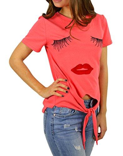 Smile YKK Femme T-Shirt à Manche Longue Irrégulière Nombril-mise à Nu Col Rond Orange