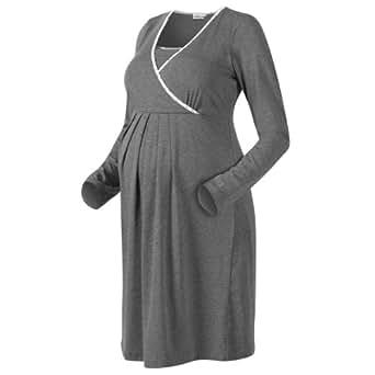 2HEARTS Still-Nachthemd Umstandsnachthemd Schwangerschafts-Nachthemd, Größe 36/38, grau