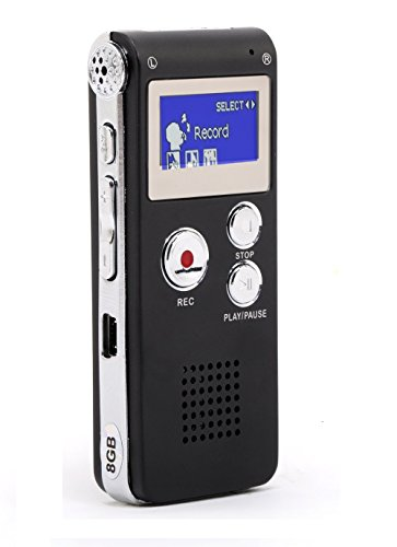 MonoDeal Registratore Vocale Portabile,8GB multifunzionale Digital Audio Voice Recorder ,con porta mini USB,Lettore musicale MP3