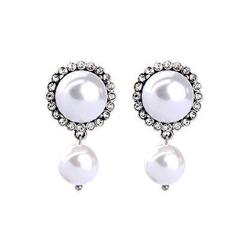 House of Joy Frühstück in der Tiffany Great Gatsby-Stil simulierten weiß Pearl Elegante Ohrstecker Ohrringe