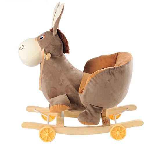Lvbeis Baby Schaukelpferd Holz Plüsch Rocking Horse Toy mit Rädern Schaukeltier FüR 6 Monate Bis 3 Jahre Alt