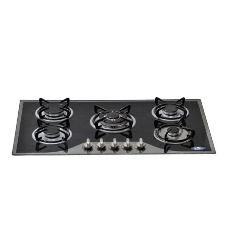 ELEGANT GERMANY ELE-1015 5 BURNER AUTO IGNITION BLACK GLASS BUILT IN HOBS (Standard)