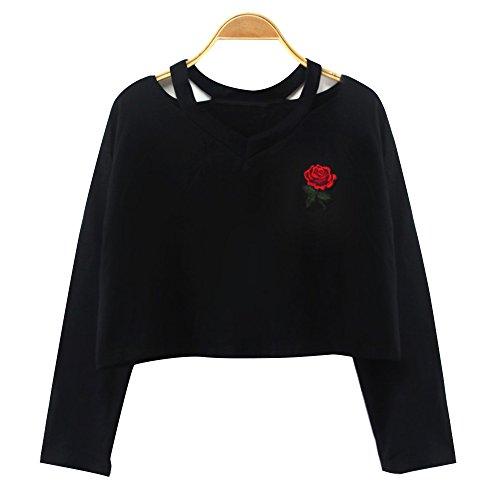 Dihope Printemps Automne Top à Manches Longues Broderie Fleur T-Shirt Casual Tee-Shirt V Cou Sexy Haut Pour Femme Noir