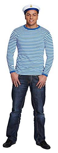 Ringelshirt langarm blau-weiß gestreift Unisex Pullover Oberteil Shirt Karneval ()