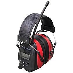 Cache-oreilles électriques avec Bluetooth, radio numérique FM / AM et microphone intégré, écouteurs à réduction de bruit Rechargeable Protear pour le travail et l'industrie, NRR 25dB